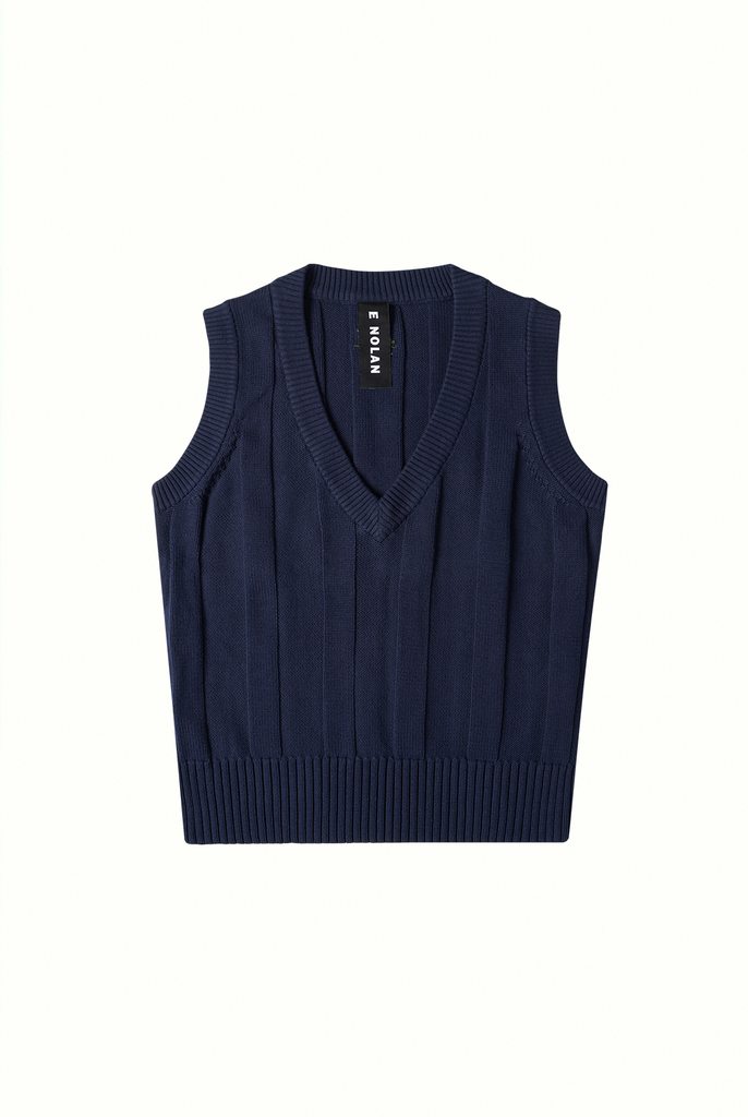 Cotton Cricket Vest - Navy