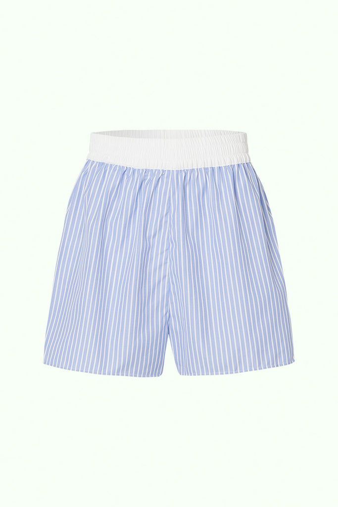 Boxer Short - Blue and White Stripe with Contrast Waistband