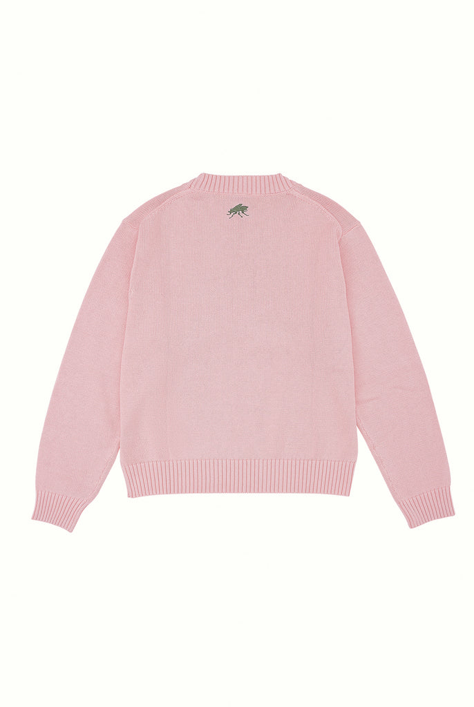 Cotton Crew Neck Jumper - Flamingo