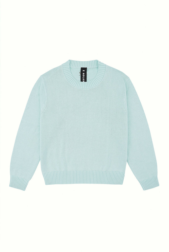 Cotton Crew Neck Jumper - Seafoam