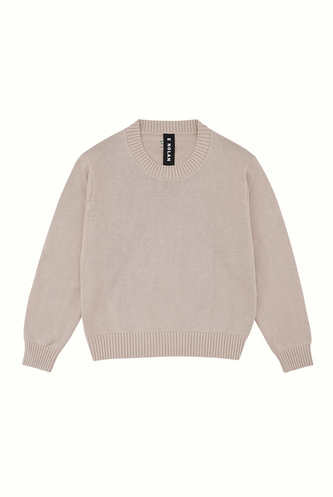 Cotton Crew Neck Jumper - Tan