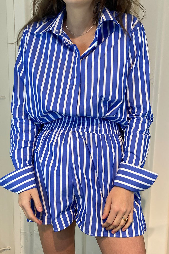 Tailored Shirt - Royal Blue Thick Stripe