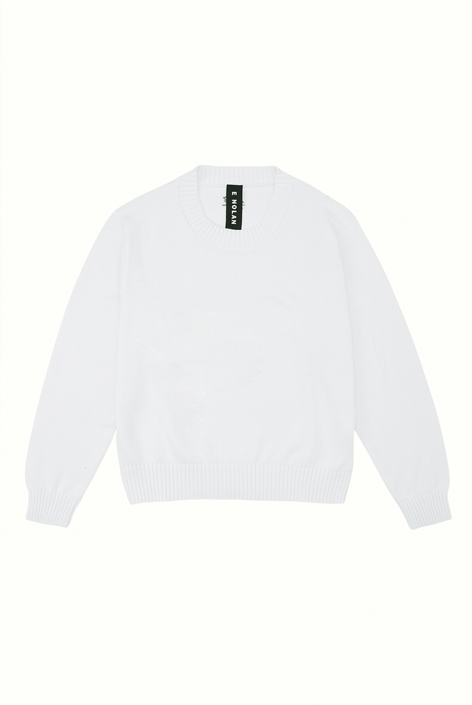Cotton Crew Neck Jumper - White