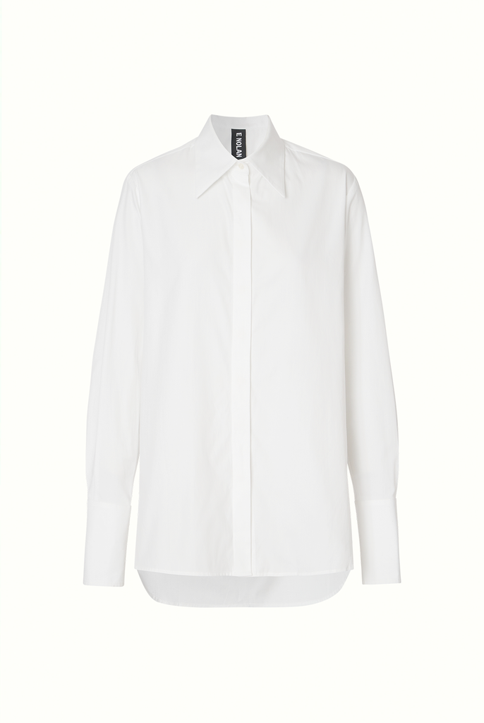 Tailored Shirt in White Cotton Twill