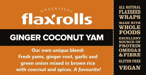 Ginger Coconut Yam FlaxRoll® Gluten-free, VEGAN. Our own unique flavour creation. One of the favourites!