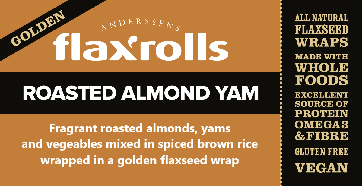 Roasted Almond Yam Golden FlaxRoll® Gluten-free, VEGAN