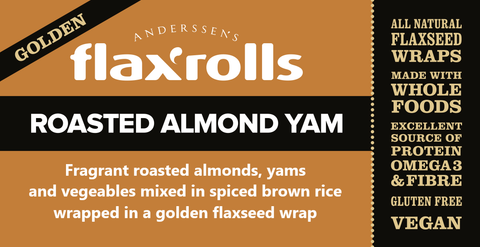 Roasted Almond Yam Golden FlaxRoll, Gluten-free, VEGAN