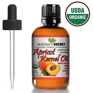 Mayan's Secret Apricot Kernel Oil, USDA Certified Organic, Natural Cold Pressed, Rejuvenating Skin Oil, 4 oz - Mayan's Secret