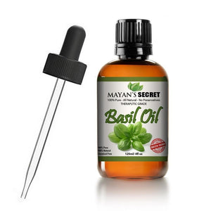 Mayan's Secret Basil Oil, 100% Pure and Natural Therapeutic Grade Essential Oil, Huge 4 oz Glass Bottle - Mayan's Secret