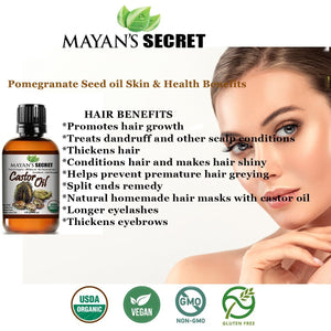Mayan's Secret Castor Oil, Cold-Pressed, 100% Pure Hexane-Free Castor Oil, Moisturizing & Healing, For Dry Skin, Hair Growth, 4 oz or 32 oz - Mayan's Secret