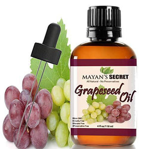 Mayan's Secret Grapeseed Oil, Premium Moisturizer for Sensitive Skin, Hair, Aromatherapy and Massage. 4 fl oz - Mayan's Secret