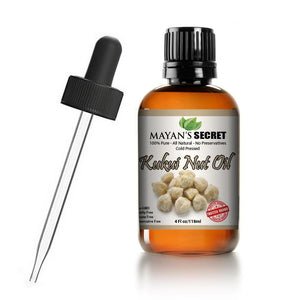 Mayan's Secret Kukui Nut Oil, All Natural 100% Pure Cold-Pressed Oil, 4 fl oz - Mayan's Secret