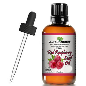 Mayan's Secret Red Raspberry Seed Oil, Cold-Pressed Unrefined, Undiluted, 100% Natural for face, hands, scars and breakouts, 1 fl oz - Mayan's Secret