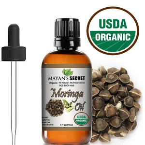Mayan's Secret USDA Certified Organic Moringa Energy Oil ,Cold Pressed Rejuvenate Dull Skin - Great for Hair and Face, Anti-aging Beauty (4 oz) - Mayan's Secret