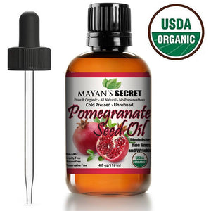 Mayan's Secret USDA Certified Organic Pomegranate Seed Oil for Skin Repair - Cold Pressed and Pure Rejuvenating Oil for Skin, Hair and Nails - Mayan's Secret