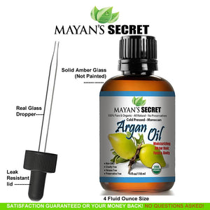 Mayan's Secret USDA Certified Virgin Organic Argan Oil For Hair, Skin, Face, Nails, Beard & Cuticles - Best 100% Pure Moroccan Anti-Aging, Anti-Wrinkle Beauty Secret, Cold Pressed Moisturizer 4oz - Mayan's Secret