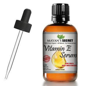Mayan's Secret Vitamin E Serum Mayan's Secret 100% Pure Virgin, All Natural Face, Dry Skin & Body Moisturizer Treatment, Hair & Nail Growth Oil, Pure Makeup Remover, Acne Cleansing Oil Large 4 OZ - Mayan's Secret
