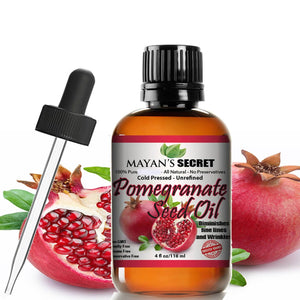 Pomegranate Seed Oil for Skin Repair -Large 4oz Glass Bottle Cold Pressed and Pure Rejuvenating Oil for Skin, Hair and Nails - Mayan's Secret