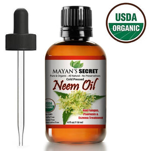 USDA Certified Organic Neem Oil Pure Cold Press, Unrefined for Skin care, Hair Care, and Natural Bug Repellent - Mayan's Secret