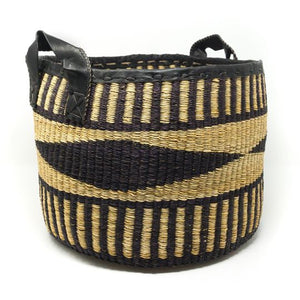 Hand-woven Black Diamond Basket - sariKNOTsari slow fashion Hamilton sustainable fashion gifts sari not sari Hamilton Fair Trade  Sustainable  Ethical  Artisan made  Zero waste  Up-cycled Slow Fashion  Handmade  GTA