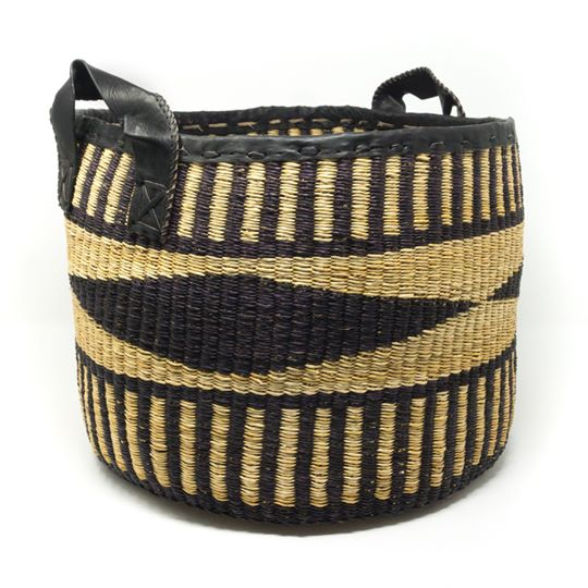 Hand-woven Black Diamond Basket - sariKNOTsari slow fashion bryn walker linen Hamilton sustainable fashion gifts sari not sari Hamilton Fair trade  Ethical  Artisan made  Zero waste  Up-cycled Slow Fashion  Handmade  GTA Toronto Copper Pure Upcycled vintage silk handmade recycled recycle copper pure silk travel clothing hamilton vacation cruisewear resortwear bathing suit bathingsuit vacation etsy silk clothing gifts gift dress top pants linen bryn walker alive intentions kaarigar elephants