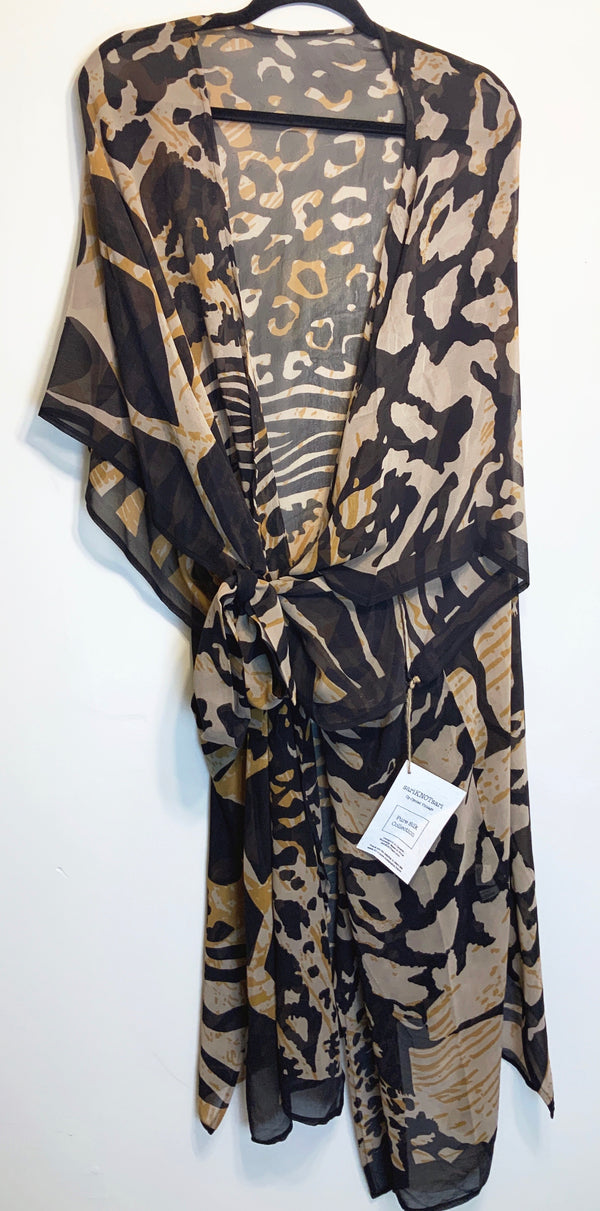 Spotted Sheer Wabi-sabi Pure Silk Kimono-Sleeved Duster with Belt
