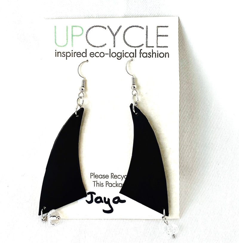 Jaya UPCYCLE Rubber Earrings - sariKNOTsari slow fashion bryn walker linen Hamilton sustainable fashion gifts sari not sari Hamilton Fair trade  Ethical  Artisan made  Zero waste  Up-cycled Slow Fashion  Handmade  GTA Toronto Copper Pure Upcycled vintage silk handmade recycled recycle copper pure silk travel clothing hamilton vacation cruisewear resortwear bathing suit bathingsuit vacation etsy silk clothing gifts gift dress top pants linen bryn walker alive intentions kaarigar elephants