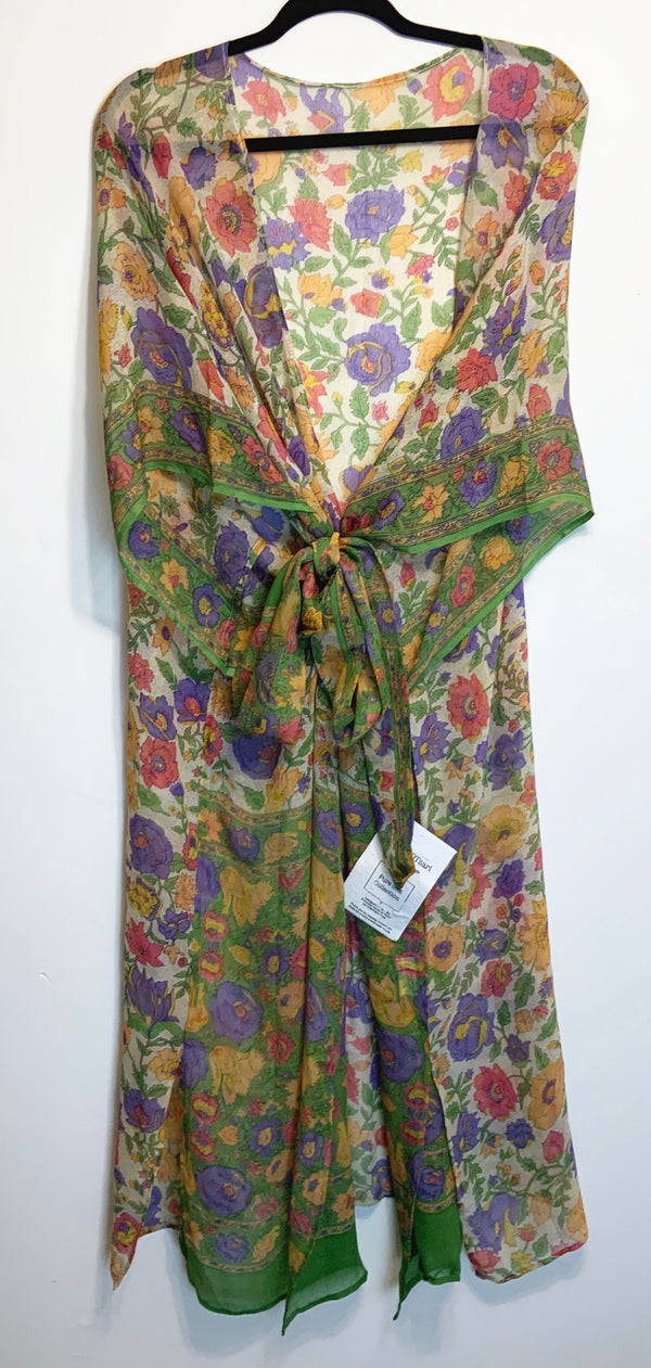 Bouquet Sheer Wabi-sabi Pure Silk Kimono-Sleeved Duster with Belt