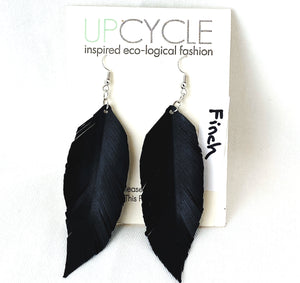 Finch UPCYCLE Rubber Feather Earrings - sariKNOTsari slow fashion bryn walker linen Hamilton sustainable fashion gifts sari not sari Hamilton Fair trade  Ethical  Artisan made  Zero waste  Up-cycled Slow Fashion  Handmade  GTA Toronto Copper Pure Upcycled vintage silk handmade recycled recycle copper pure silk travel clothing hamilton vacation cruisewear resortwear bathing suit bathingsuit vacation etsy silk clothing gifts gift dress top pants linen bryn walker alive intentions kaarigar elephants