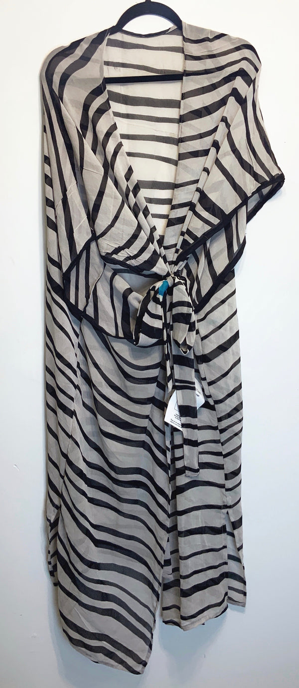 Zebra Sheer Wabi-sabi Pure Silk Kimono-Sleeved Duster with Belt