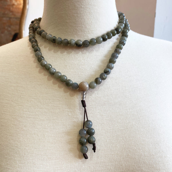 Labradorite Stones Beaded Mala Necklace - sariKNOTsari slow fashion bryn walker linen Hamilton sustainable fashion gifts sari not sari Hamilton Fair trade  Ethical  Artisan made  Zero waste  Up-cycled Slow Fashion  Handmade  GTA Toronto Copper Pure Upcycled vintage silk handmade recycled recycle copper pure silk travel clothing hamilton vacation cruisewear resortwear bathing suit bathingsuit vacation etsy silk clothing gifts gift dress top pants linen bryn walker alive intentions kaarigar elephants