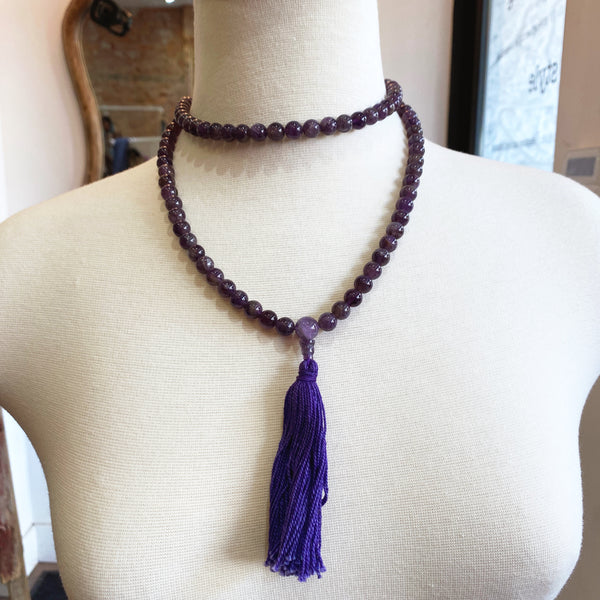Amethyst Gemstone Meditation Mala - sariKNOTsari slow fashion bryn walker linen Hamilton sustainable fashion gifts sari not sari Hamilton Fair trade  Ethical  Artisan made  Zero waste  Up-cycled Slow Fashion  Handmade  GTA Toronto Copper Pure Upcycled vintage silk handmade recycled recycle copper pure silk travel clothing hamilton vacation cruisewear resortwear bathing suit bathingsuit vacation etsy silk clothing gifts gift dress top pants linen bryn walker alive intentions kaarigar elephants