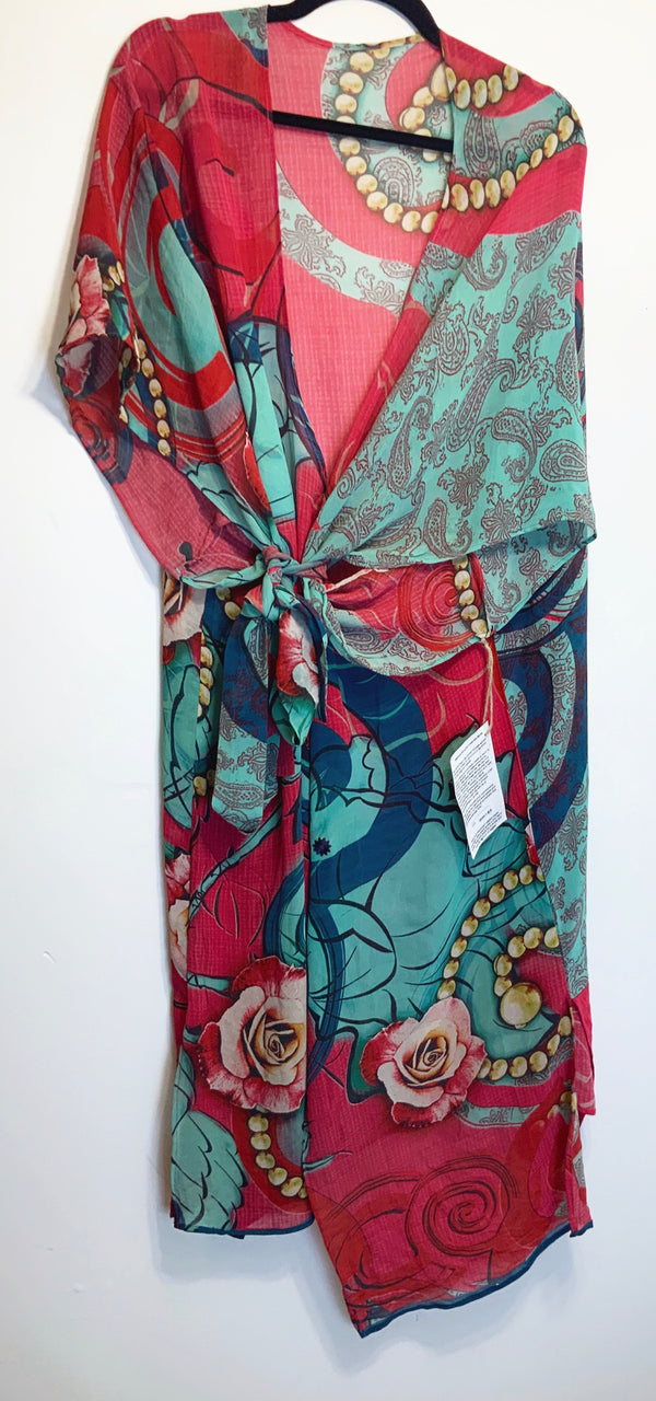 Ginsberg Sheer Wabi-sabi Pure Silk Kimono-Sleeved Duster with Belt