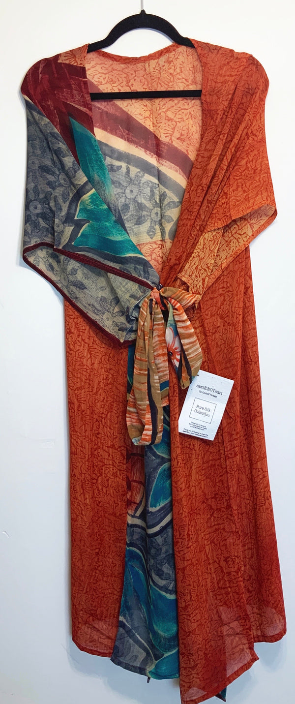 Rusty Sheer Wabi-sabi Pure Silk Kimono-Sleeved Duster with Belt