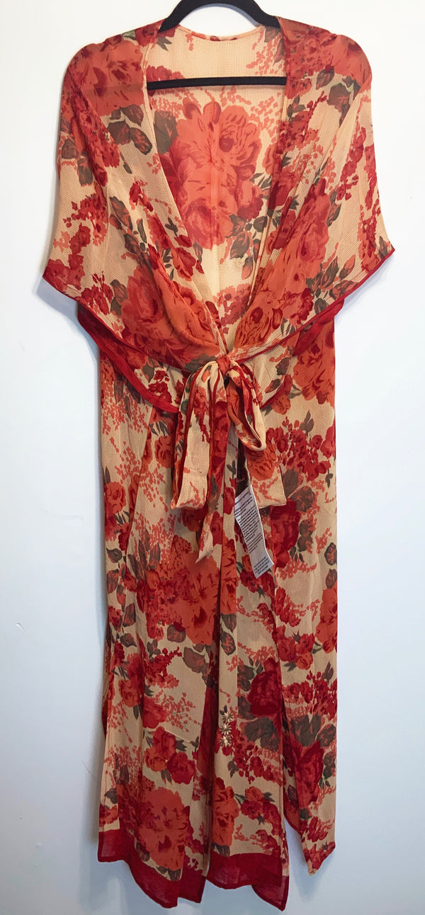 Wilma Sheer Wabi-sabi Pure Silk Kimono-Sleeved Duster with Belt