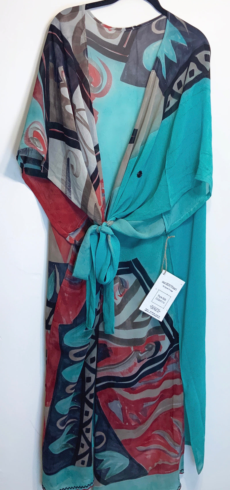 Picasso Sheer Wabi-sabi Pure Silk Kimono-Sleeved Duster with Belt