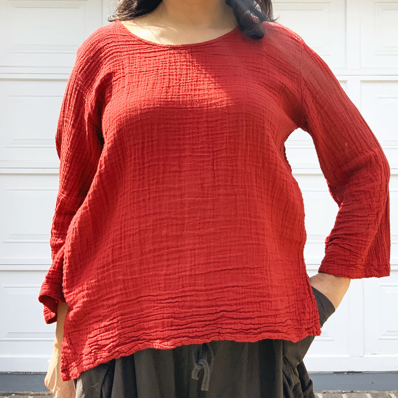Red Long Sleeve Cotton Top - sariKNOTsari slow fashion bryn walker linen Hamilton sustainable fashion gifts sari not sari Hamilton Fair trade  Ethical  Artisan made  Zero waste  Up-cycled Slow Fashion  Handmade  GTA Toronto Copper Pure Upcycled vintage silk handmade recycled recycle copper pure silk travel clothing hamilton vacation cruisewear resortwear bathing suit bathingsuit vacation etsy silk clothing gifts gift dress top pants linen bryn walker alive intentions kaarigar elephants