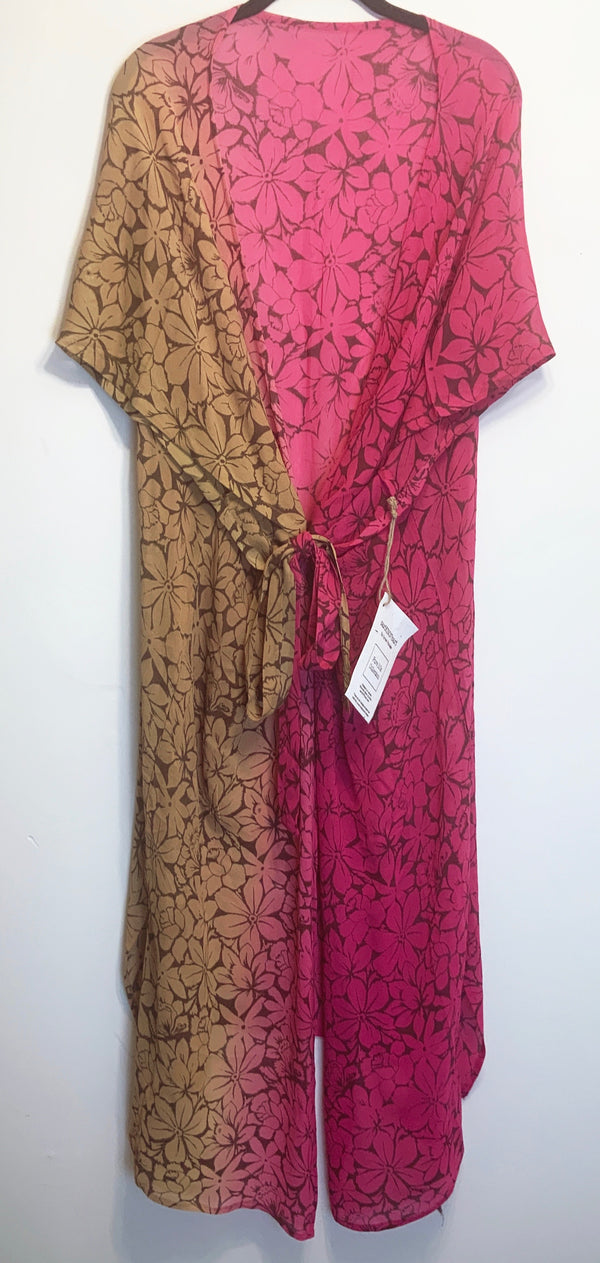 Meadow Sheer Wabi-sabi Pure Silk Kimono-Sleeved Duster with Belt