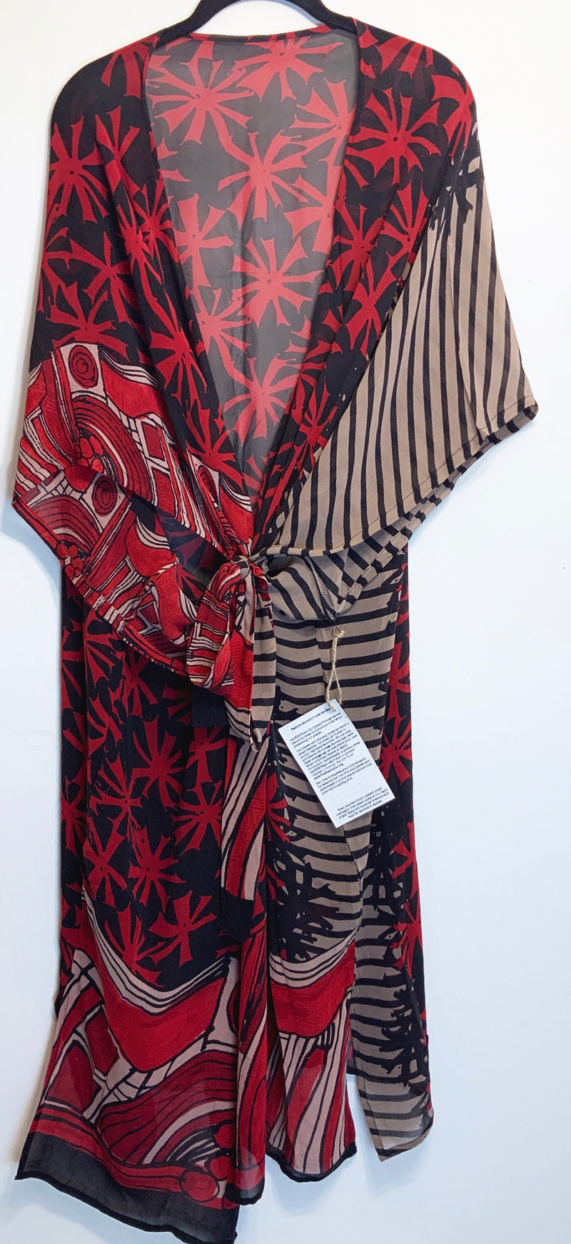 Reddy Wabi-sabi Pure Silk Kimono-Sleeved Duster with Belt