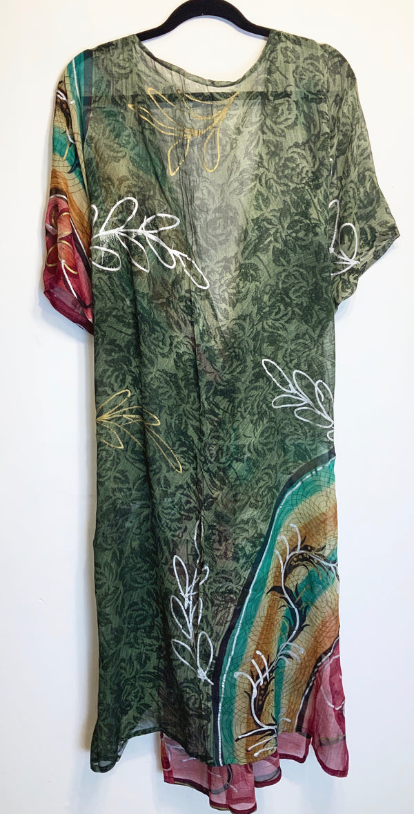 Silver Sheer Wabi-sabi Pure Silk Kimono-Sleeved Duster with Belt