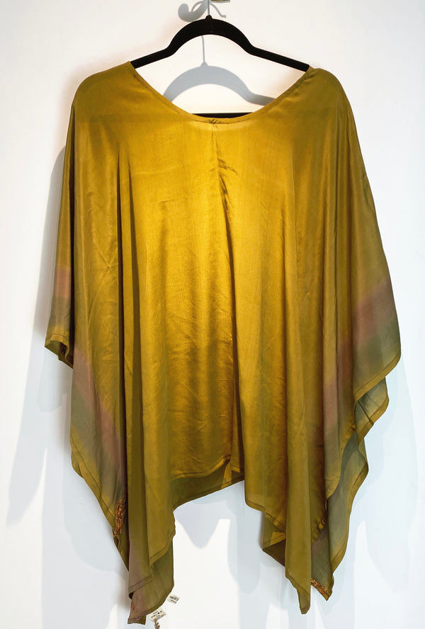 Golden Beach Pure Silk Capelet Poncho - sariKNOTsari slow fashion bryn walker linen Hamilton sustainable fashion gifts sari not sari Hamilton Fair trade  Ethical  Artisan made  Zero waste  Up-cycled Slow Fashion  Handmade  GTA Toronto Copper Pure Upcycled vintage silk handmade recycled recycle copper pure silk travel clothing hamilton vacation cruisewear resortwear bathing suit bathingsuit vacation etsy silk clothing gifts gift dress top pants linen bryn walker alive intentions kaarigar elephants
