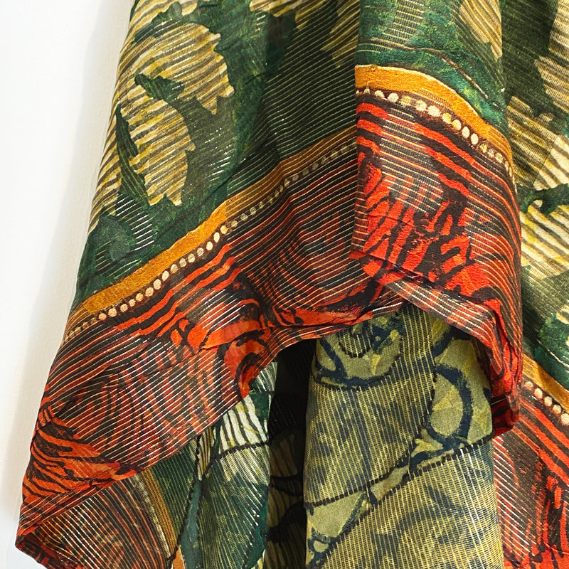 Gilly Pure Silk Boxy Top - sariKNOTsari slow fashion bryn walker linen Hamilton sustainable fashion gifts sari not sari Hamilton Fair trade  Ethical  Artisan made  Zero waste  Up-cycled Slow Fashion  Handmade  GTA Toronto Copper Pure Upcycled vintage silk handmade recycled recycle copper pure silk travel clothing hamilton vacation cruisewear resortwear bathing suit bathingsuit vacation etsy silk clothing gifts gift dress top pants linen bryn walker alive intentions kaarigar elephants