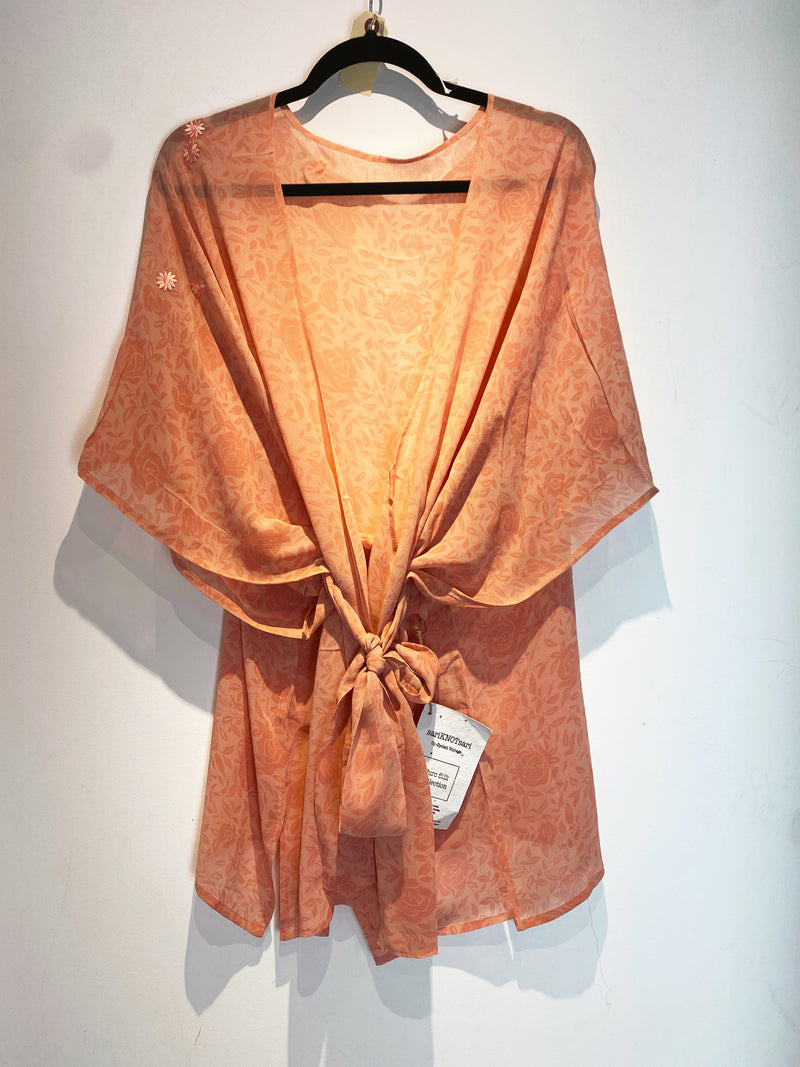 Peony Sheer Wabi-Sabi Pure Silk Kimono-Sleeved Jacket with Belt