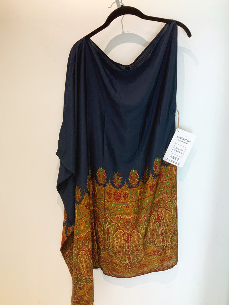 Luxurious Navy Wabi-Sabi Pure Silk One Shoulder Dress
