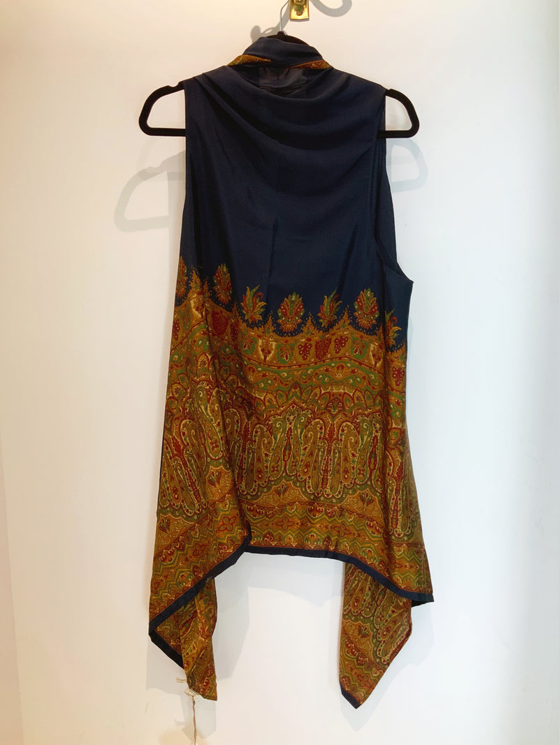 Luxurious Navy Wabi-Sabi Pure Silk Versatile Vest