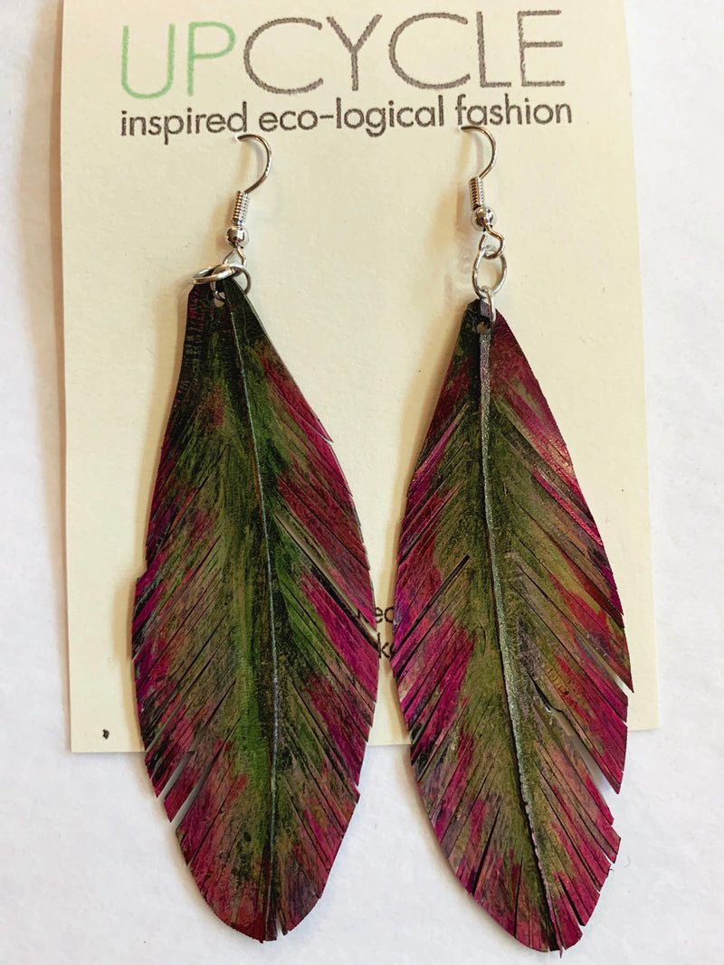 Alyssum UPCYCLE Rubber Feather Earrings - sariKNOTsari slow fashion bryn walker linen Hamilton sustainable fashion gifts sari not sari Hamilton Fair trade  Ethical  Artisan made  Zero waste  Up-cycled Slow Fashion  Handmade  GTA Toronto Copper Pure Upcycled vintage silk handmade recycled recycle copper pure silk travel clothing hamilton vacation cruisewear resortwear bathing suit bathingsuit vacation etsy silk clothing gifts gift dress top pants linen bryn walker alive intentions kaarigar elephants