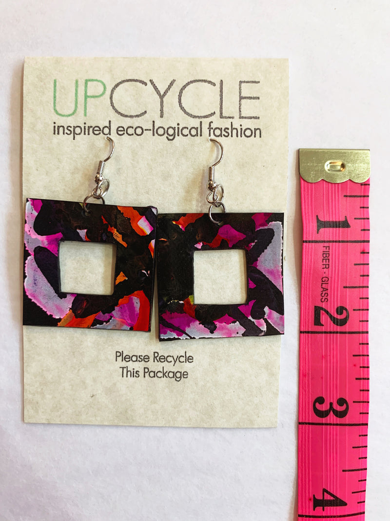Peony Square UPCYCLE Rubber Earrings - sariKNOTsari slow fashion bryn walker linen Hamilton sustainable fashion gifts sari not sari Hamilton Fair trade  Ethical  Artisan made  Zero waste  Up-cycled Slow Fashion  Handmade  GTA Toronto Copper Pure Upcycled vintage silk handmade recycled recycle copper pure silk travel clothing hamilton vacation cruisewear resortwear bathing suit bathingsuit vacation etsy silk clothing gifts gift dress top pants linen bryn walker alive intentions kaarigar elephants