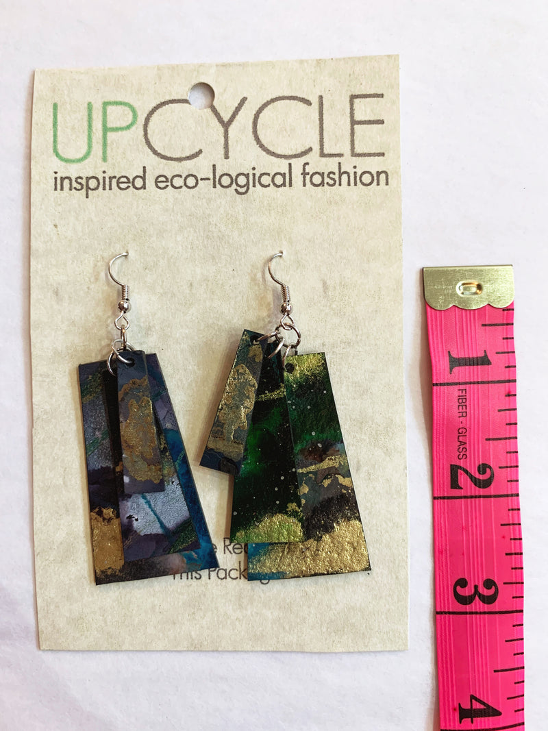 Vernal UPCYCLE Rubber Earrings - sariKNOTsari slow fashion bryn walker linen Hamilton sustainable fashion gifts sari not sari Hamilton Fair trade  Ethical  Artisan made  Zero waste  Up-cycled Slow Fashion  Handmade  GTA Toronto Copper Pure Upcycled vintage silk handmade recycled recycle copper pure silk travel clothing hamilton vacation cruisewear resortwear bathing suit bathingsuit vacation etsy silk clothing gifts gift dress top pants linen bryn walker alive intentions kaarigar elephants