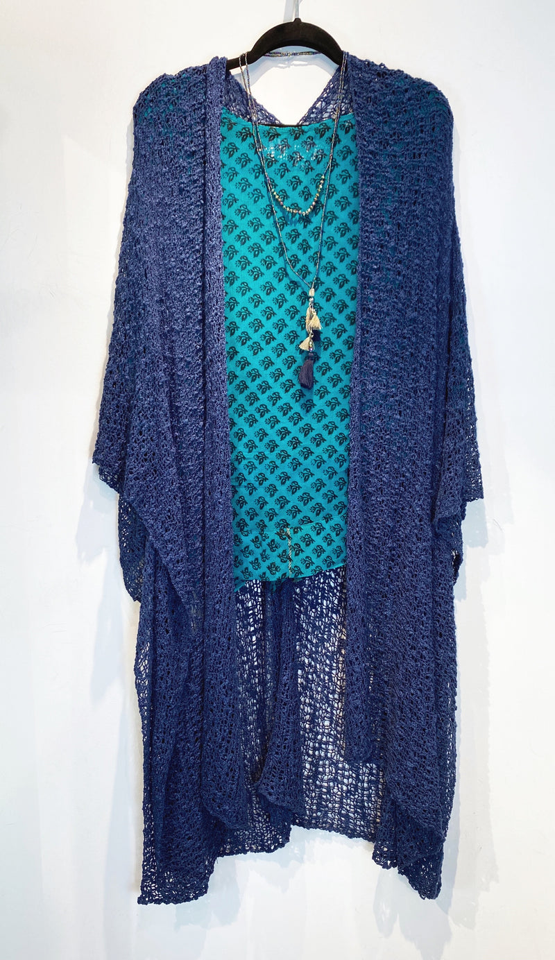 Navy Blue Full-Length Popcorn Knit Kimono - sariKNOTsari slow fashion bryn walker linen Hamilton sustainable fashion gifts sari not sari Hamilton Fair trade  Ethical  Artisan made  Zero waste  Up-cycled Slow Fashion  Handmade  GTA Toronto Copper Pure Upcycled vintage silk handmade recycled recycle copper pure silk travel clothing hamilton vacation cruisewear resortwear bathing suit bathingsuit vacation etsy silk clothing gifts gift dress top pants linen bryn walker alive intentions kaarigar elephants