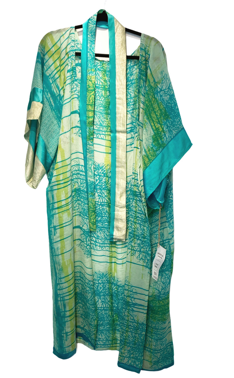 Lauretta Sheer Wabi-sabi Pure Silk Kimono-Sleeved Duster with Belt